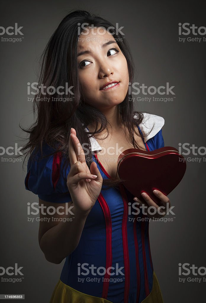 Snow white in love portrait for St Valentine's day royalty-free stock photo