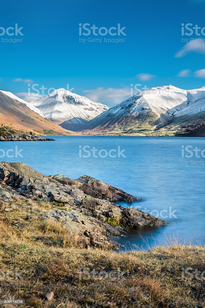 Snow Winter Landscape At Wast Water In The Lake District. stock photo