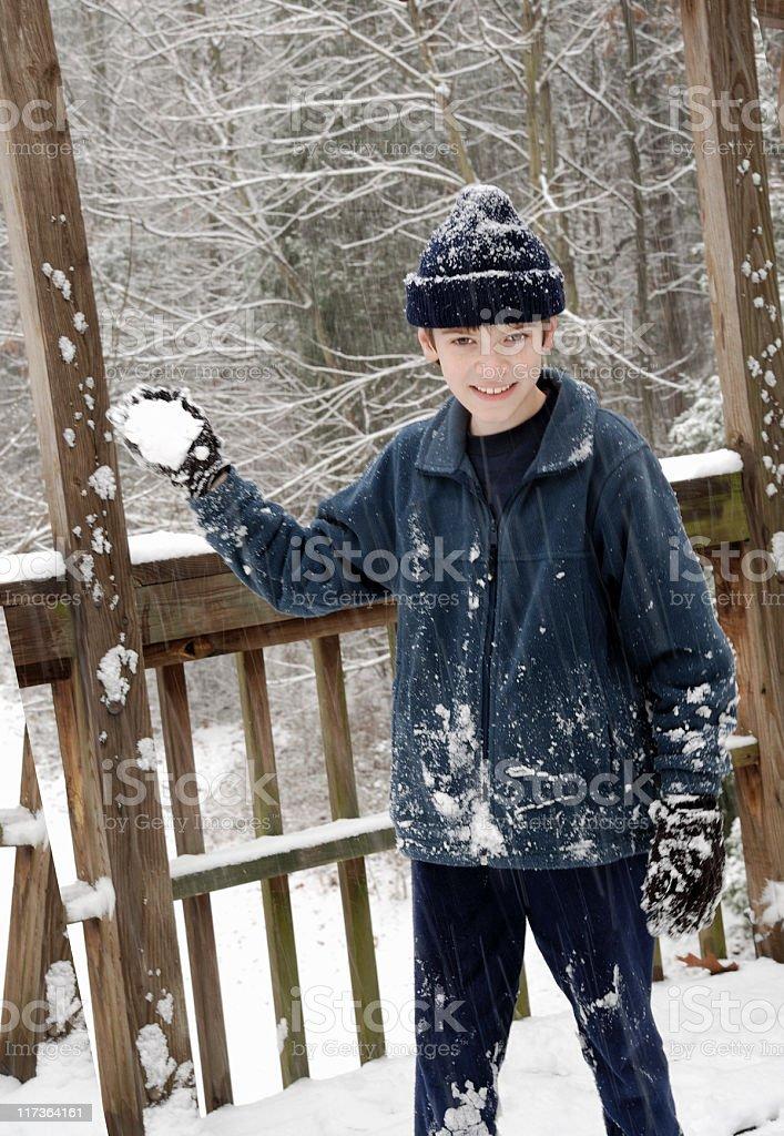 Snowball battle stock photo