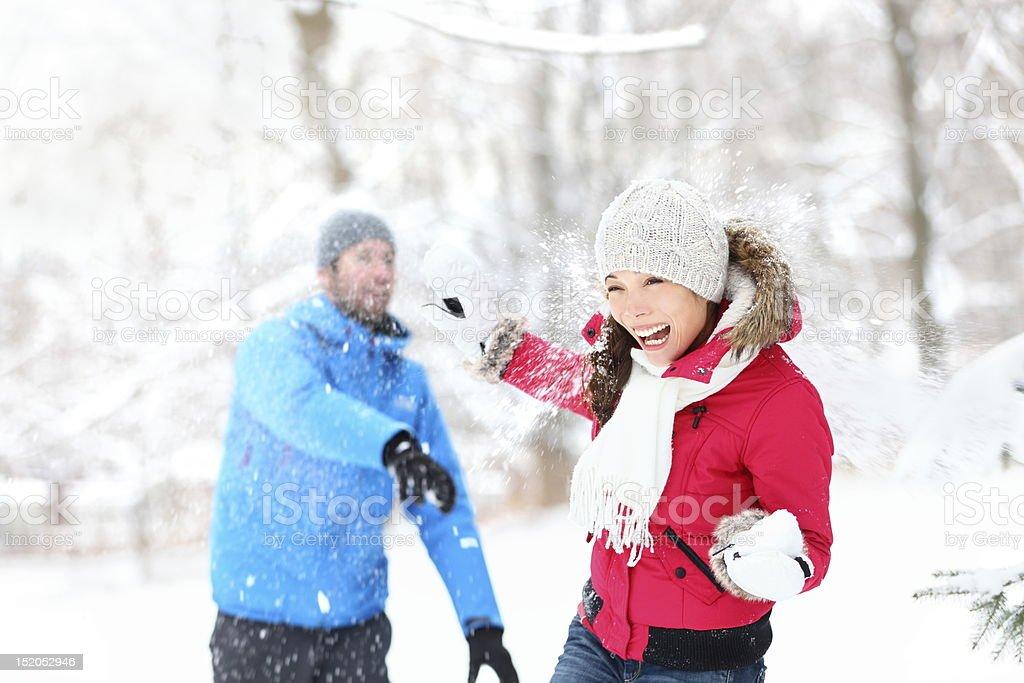 snowball fight stock photo