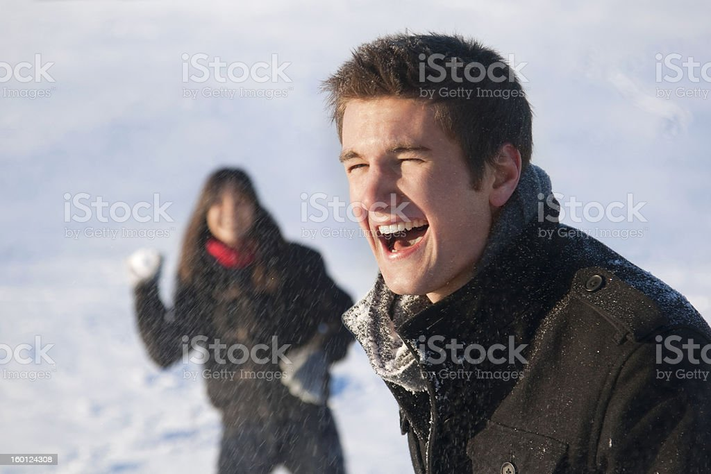 Snowball Fight royalty-free stock photo