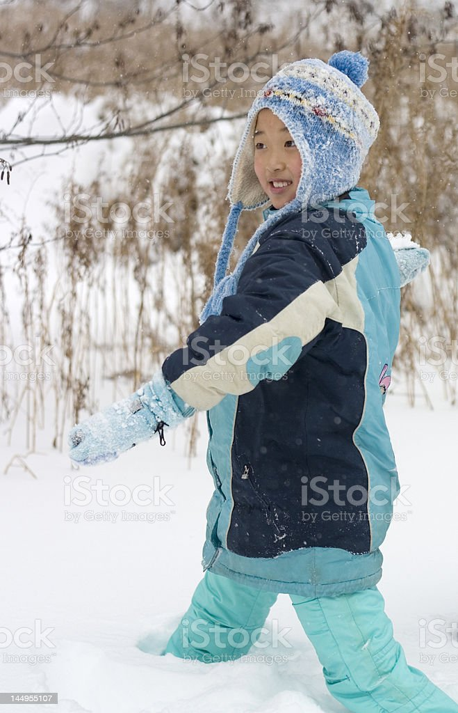 snowball fighting royalty-free stock photo