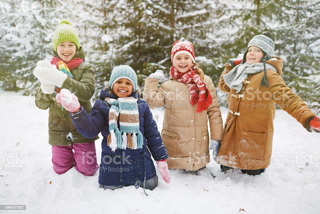 Snowball players stock photo