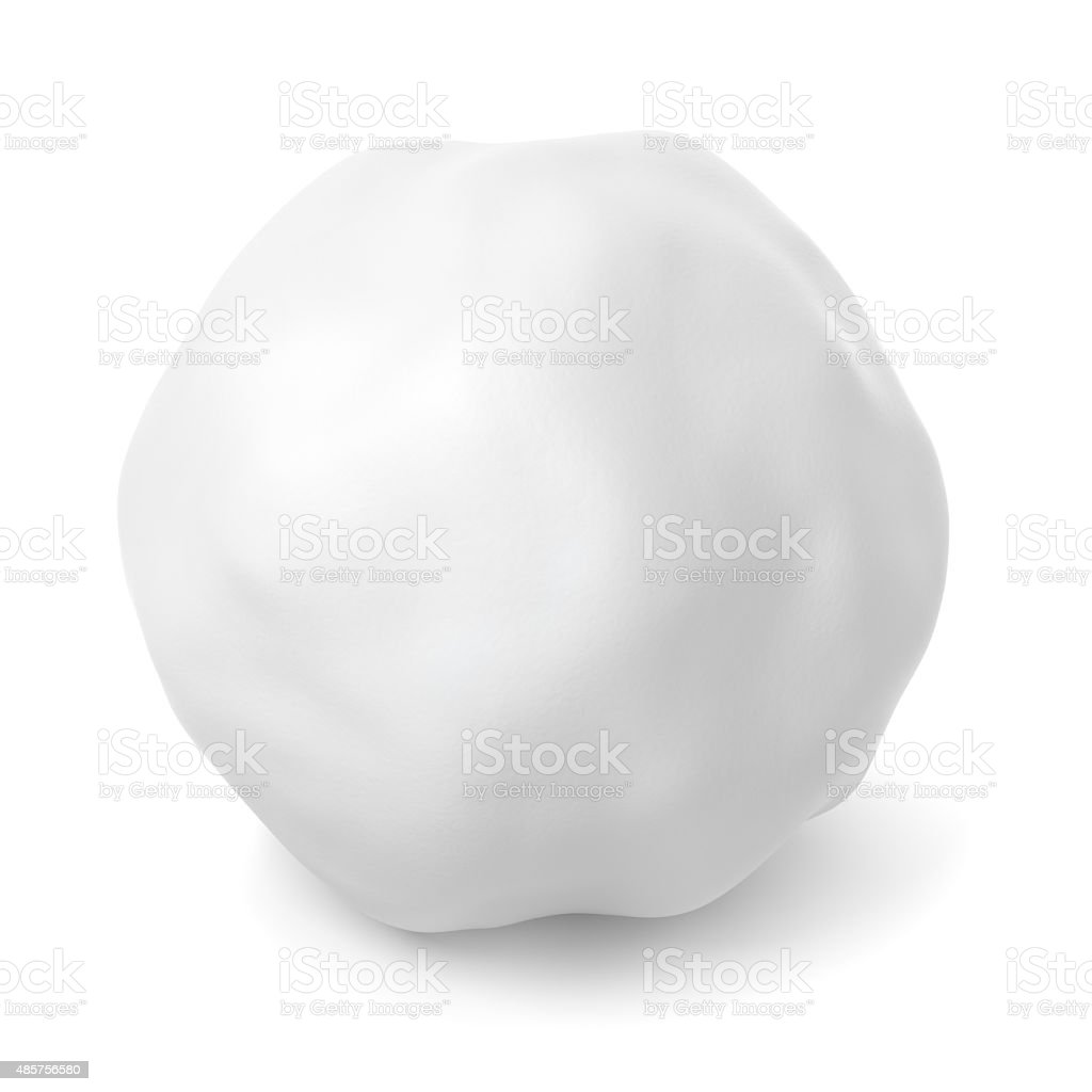 Snowball with shadow isolated on white stock photo