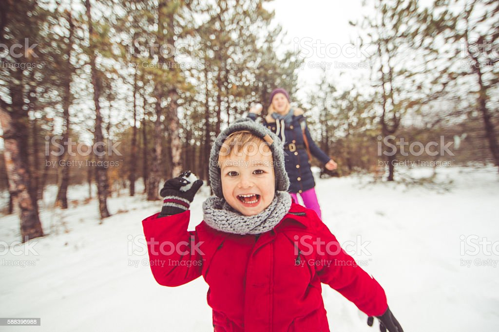 Snowballing stock photo