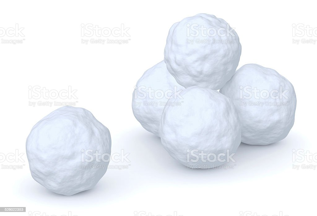 Snowballs heap and one snowball stock photo