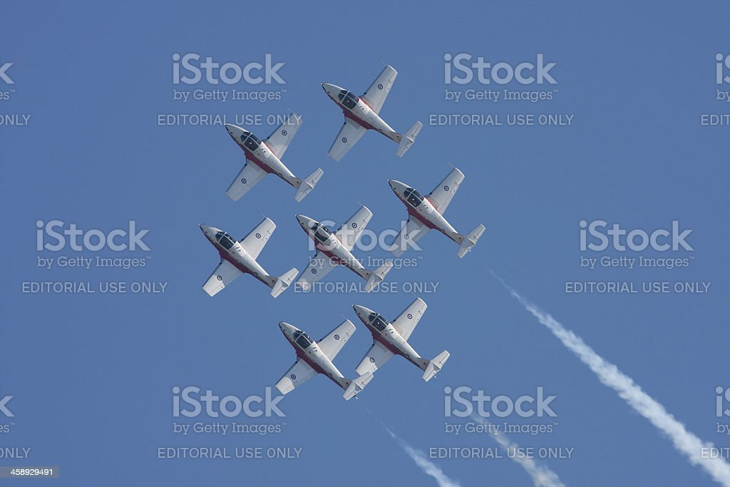 Snowbirds Flying In Formation royalty-free stock photo