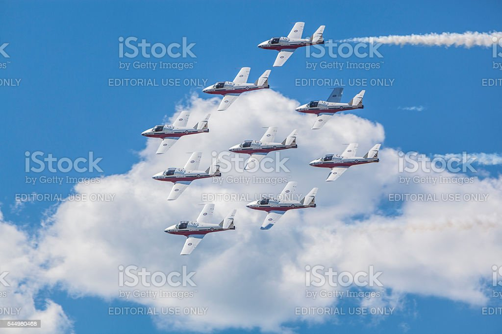 Snowbirds in blue sky and clouds stock photo