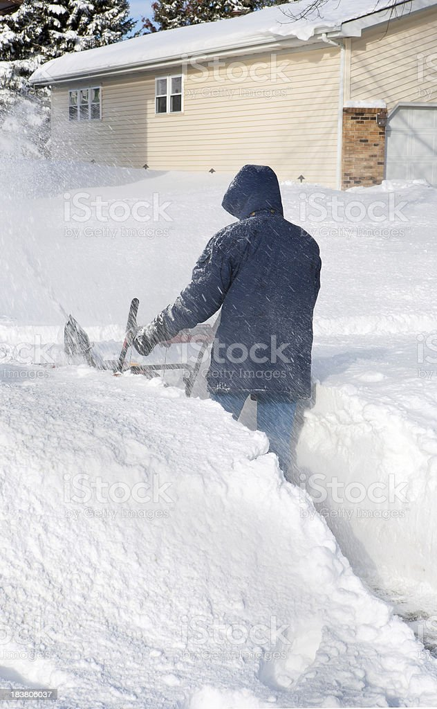 snowblower in waist high snow after blizzard royalty-free stock photo