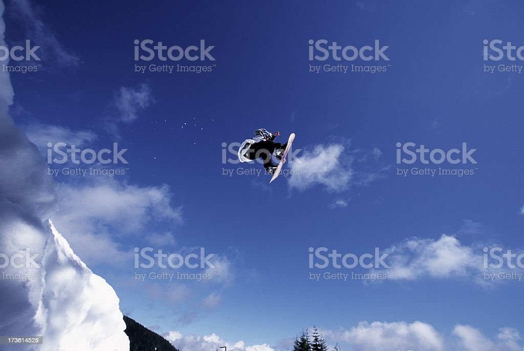 Snowboard air time stock photo