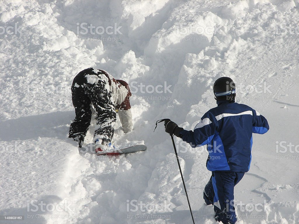 Snowboard and ski royalty-free stock photo