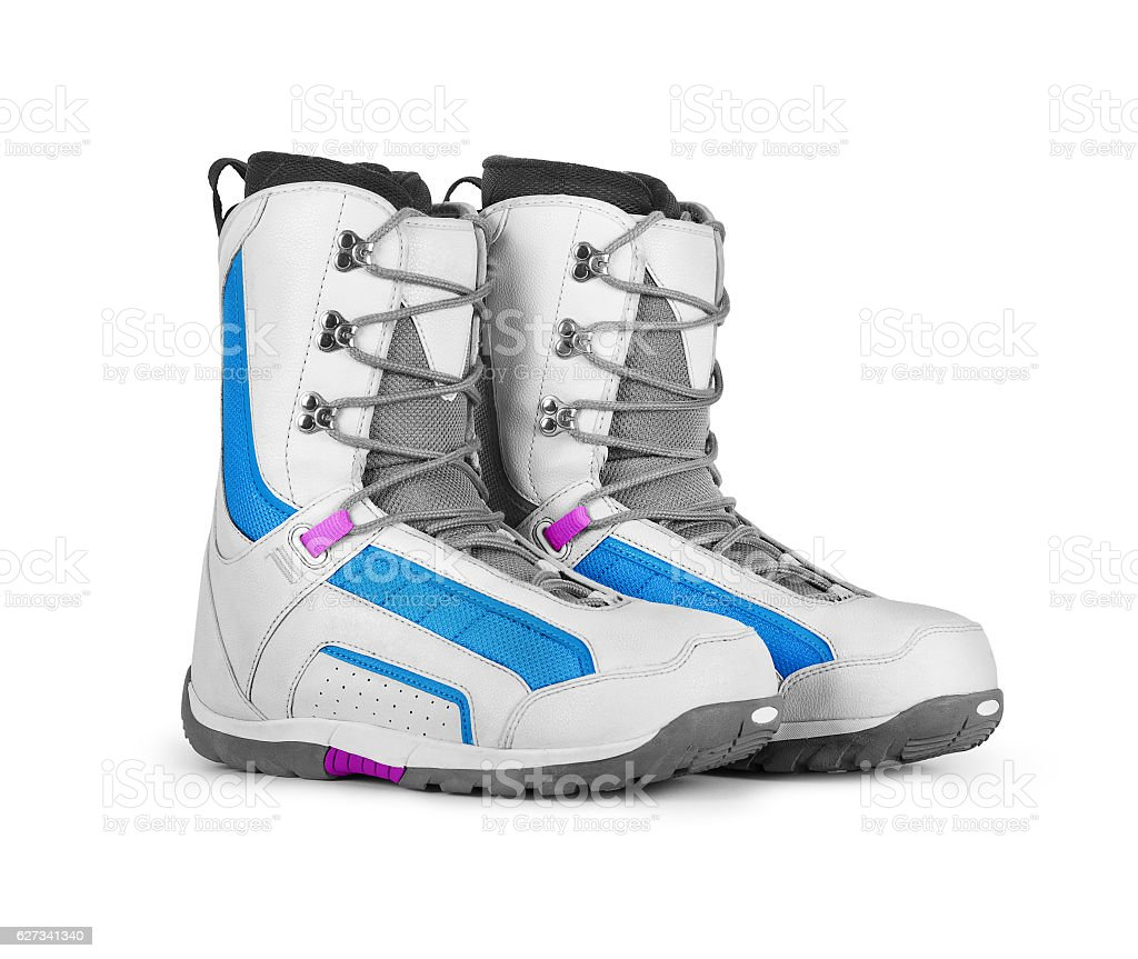 Snowboard boots isolated on white background stock photo