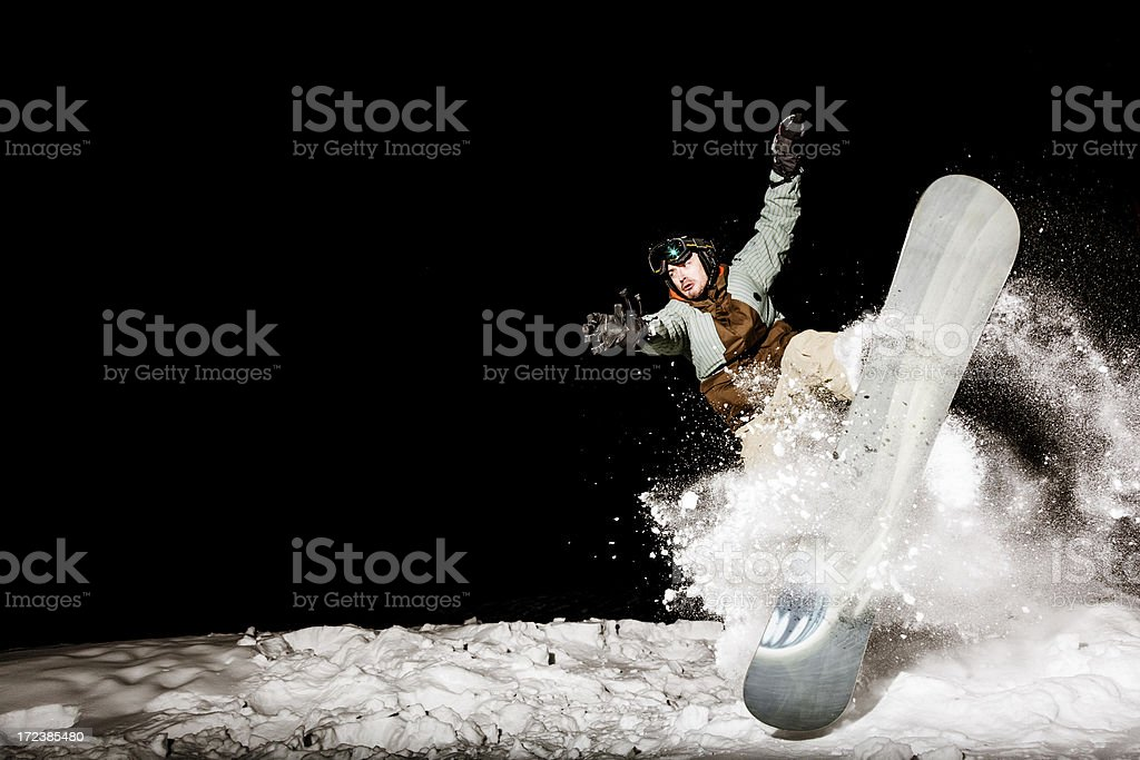 Snowboard crash stock photo