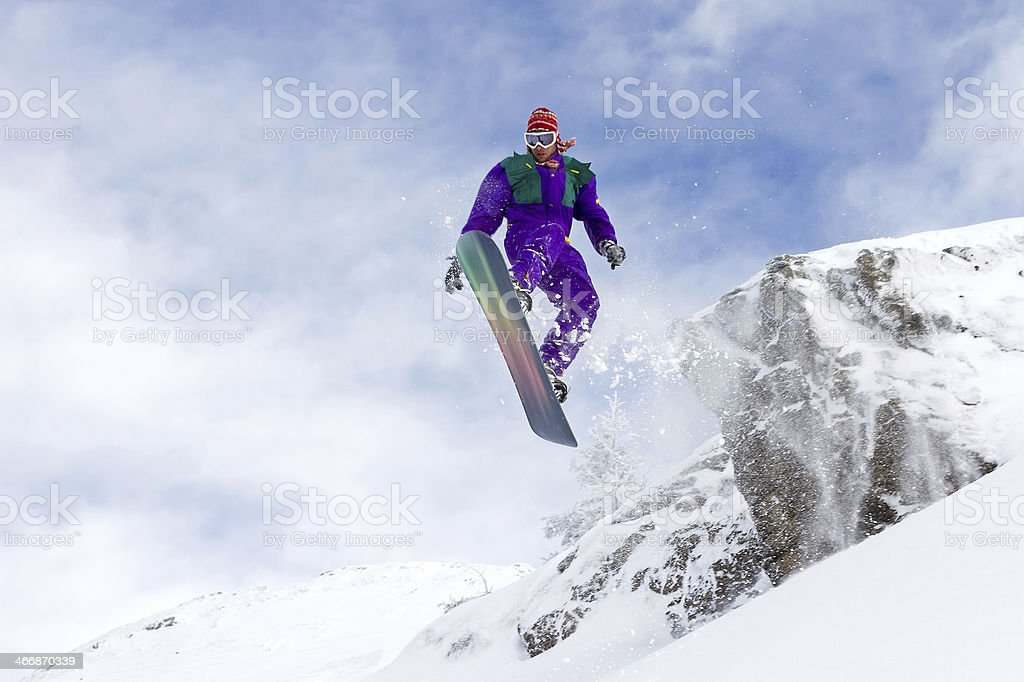 Snowboard flying stock photo