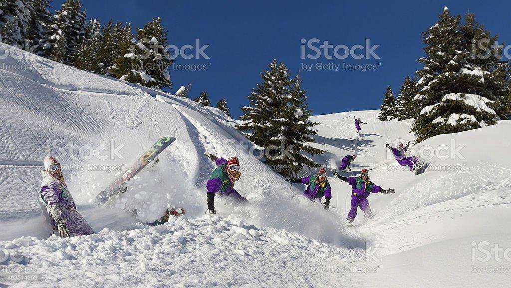Snowboard fun stock photo