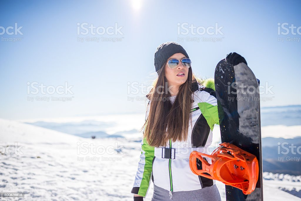Snowboard girl stock photo