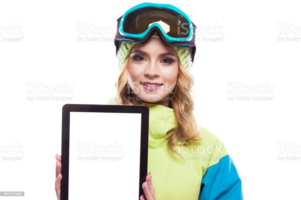 snowboard girl with empty tablet stock photo