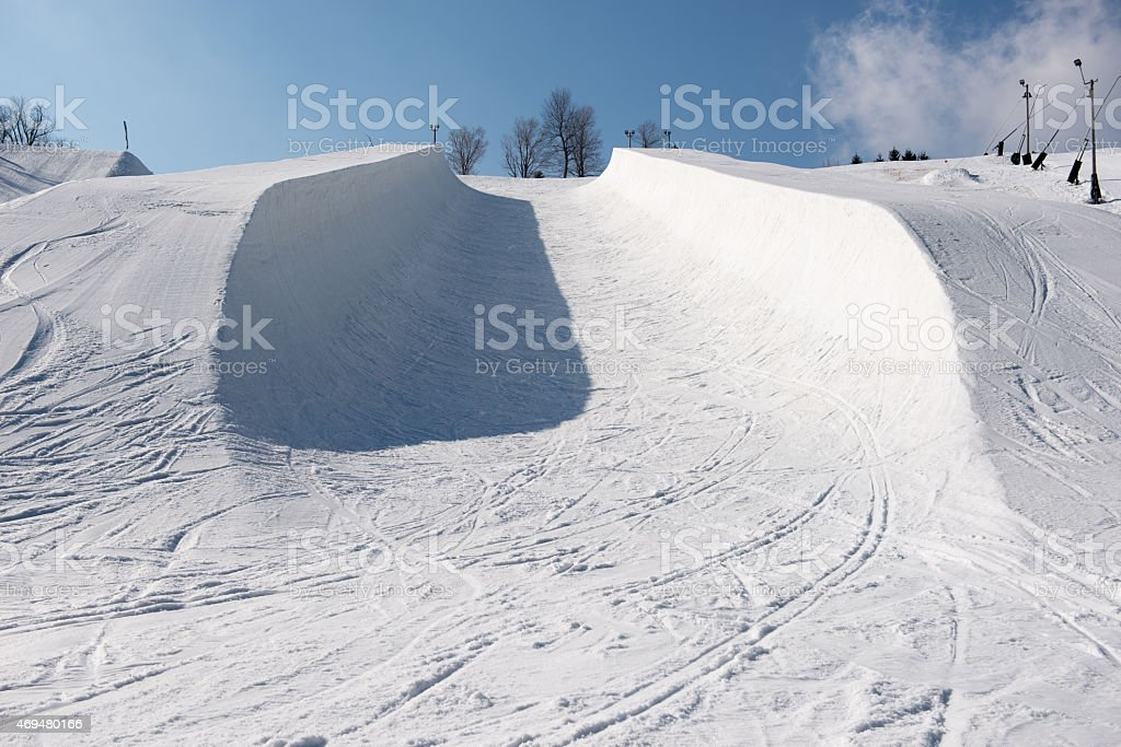 Snowboard Halfpipe Ski Half Pipe stock photo