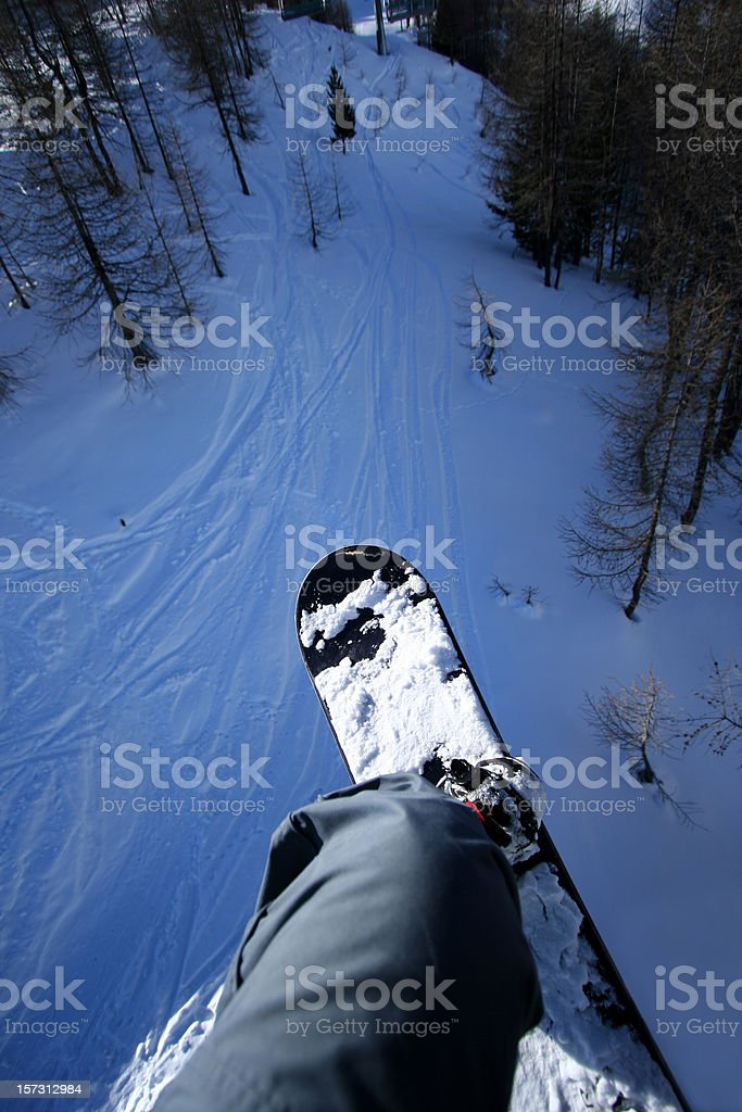 Snowboard high jump stock photo