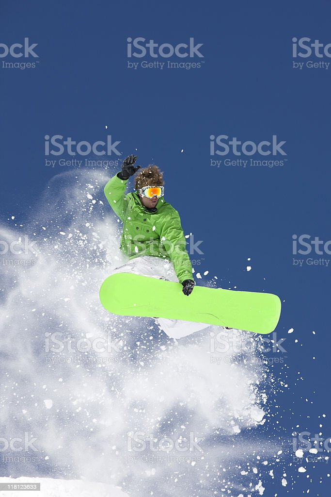 Snowboard  In Mid-Air Making Extreme Jump royalty-free stock photo