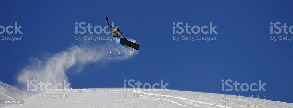Snowboard Jump Panorama royalty-free stock photo