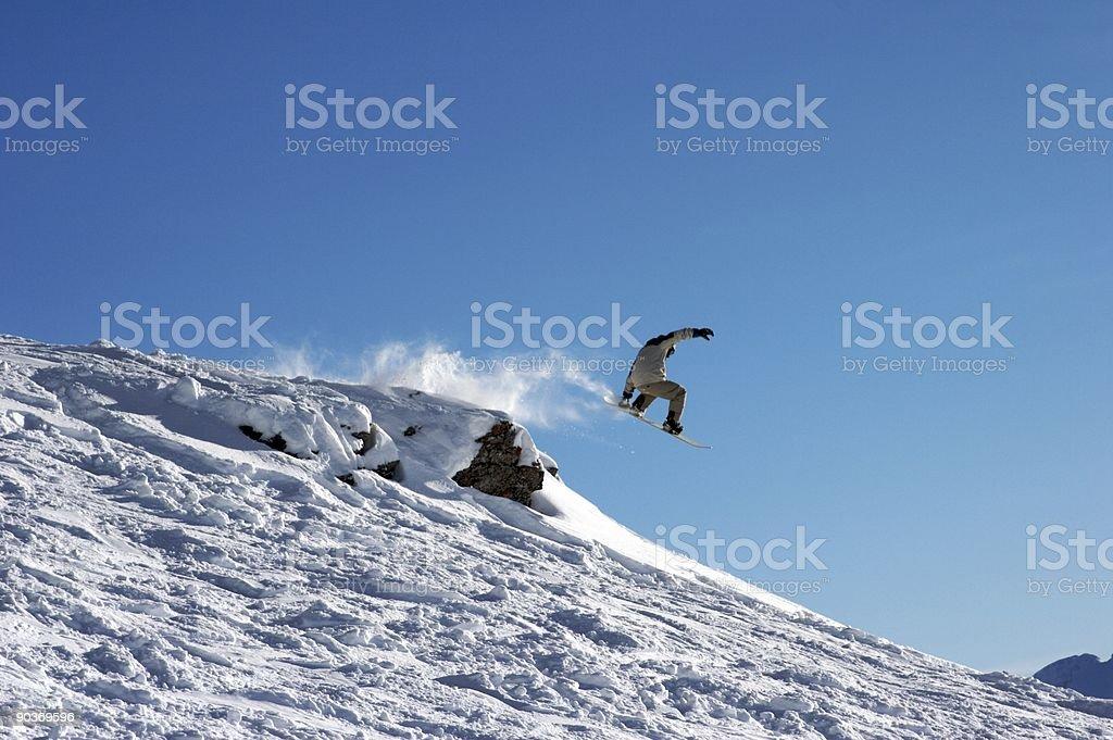 Snowboard Jump Tail Grab stock photo