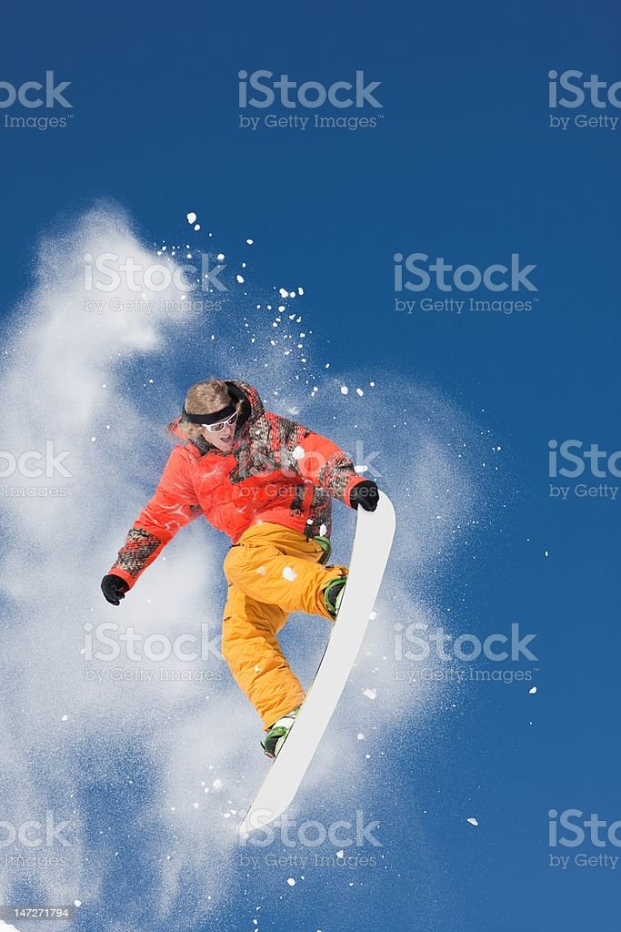 Snowboard Jump With Brilliant Colors royalty-free stock photo