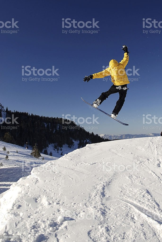 snowboard jumping stock photo