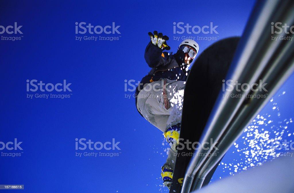 Snowboard rail stock photo