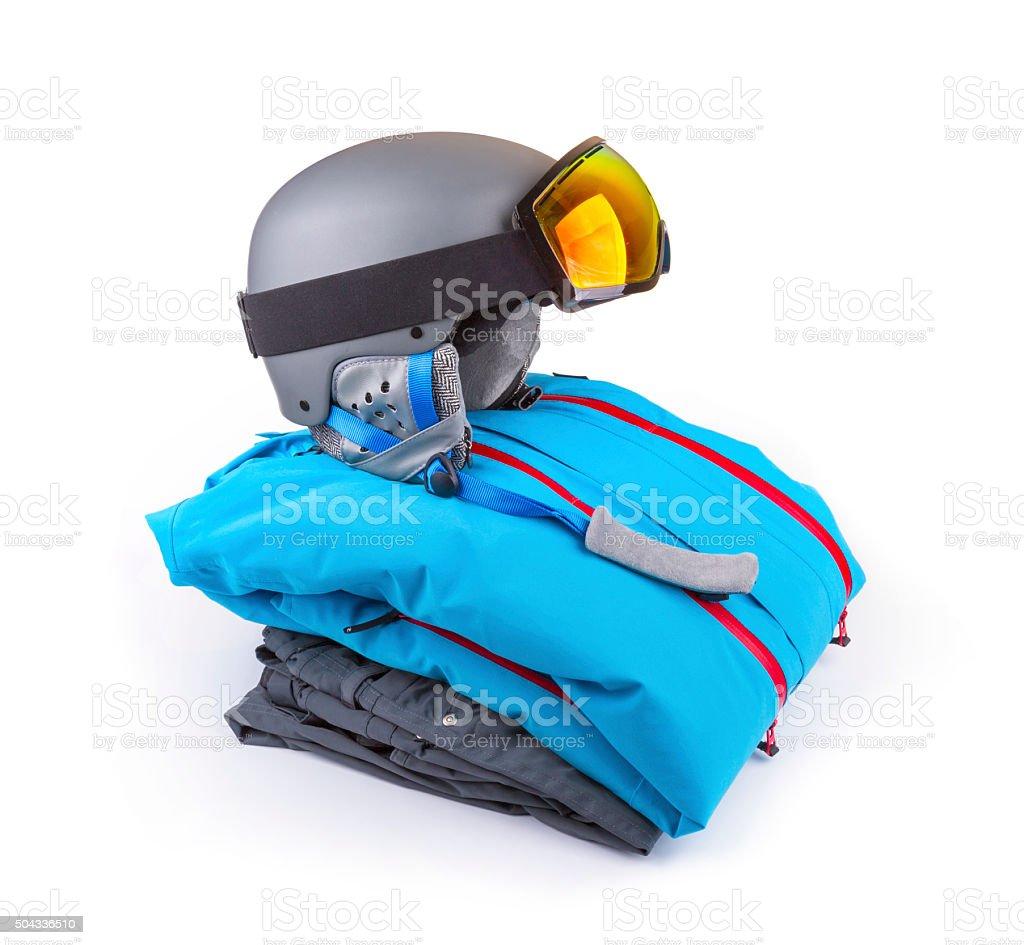 snowboard, ski clothing set isolated on white stock photo
