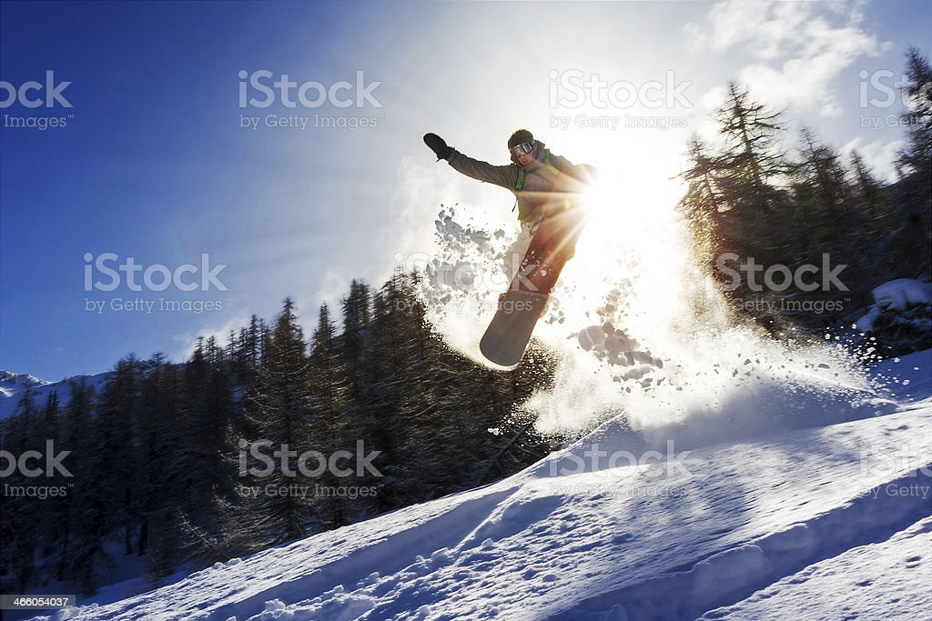 Snowboard sun power stock photo