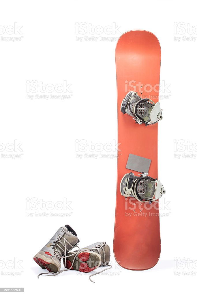 Snowboard with boots isolated on white stock photo