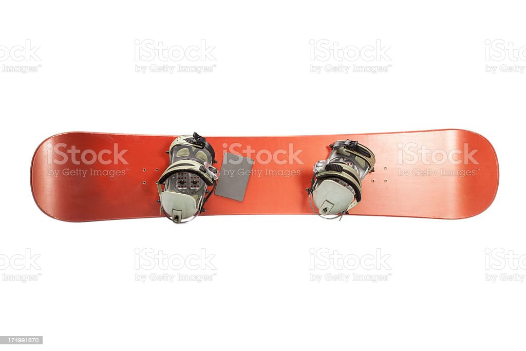 Snowboard with two strap-in bindings stock photo