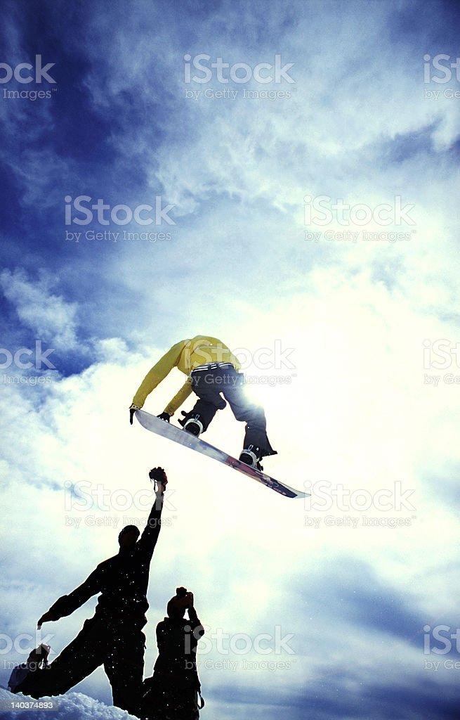 Snowboarder and Photographer Silouhette stock photo