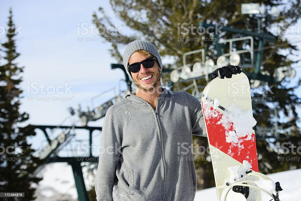Snowboarder and Ski Lift royalty-free stock photo