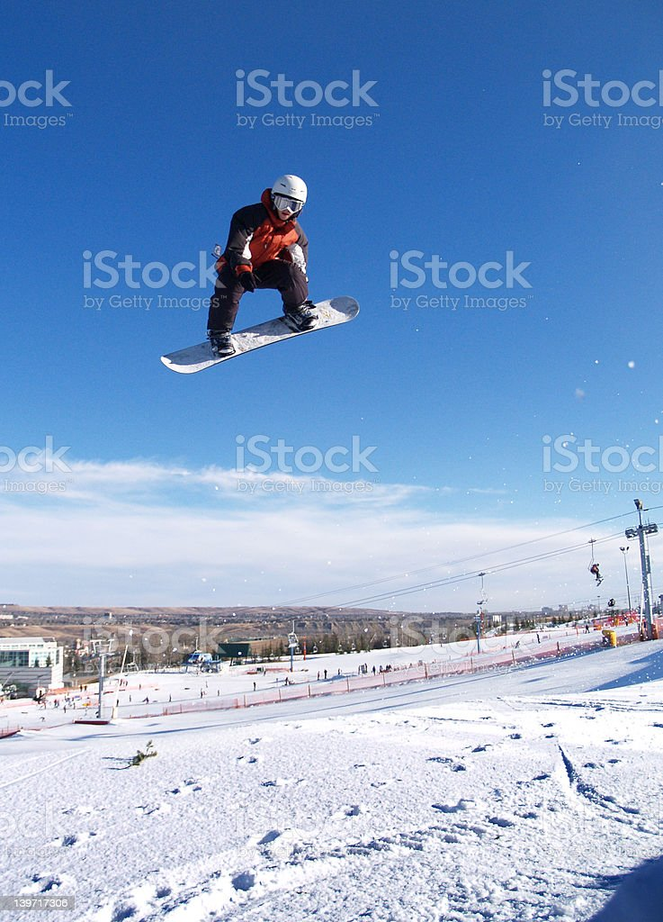 Snowboarder at COP stock photo