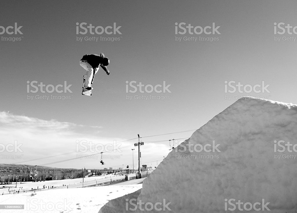 B&W Snowboarder at COP royalty-free stock photo