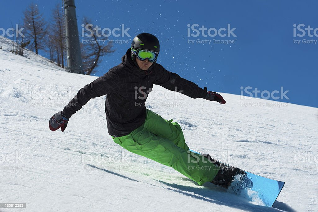 Snowboarder at Extreme Carving royalty-free stock photo