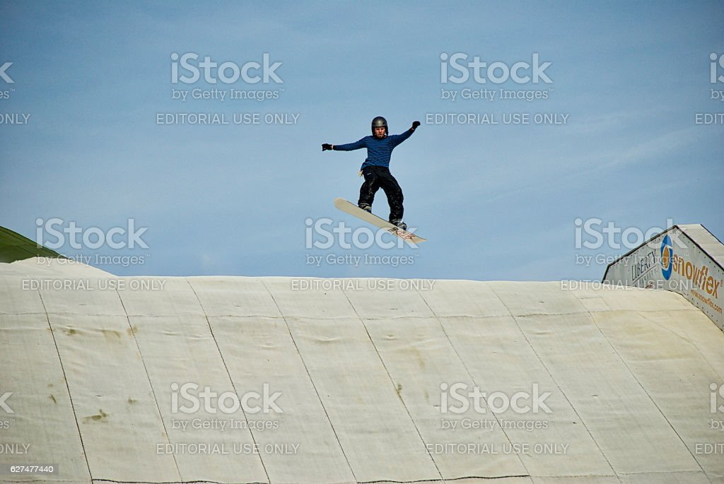 Snowboarder Catches Air at Liberty University's Snowflex stock photo