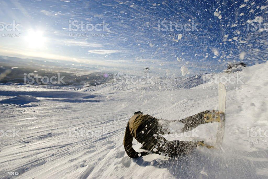 Snowboarder Crash stock photo