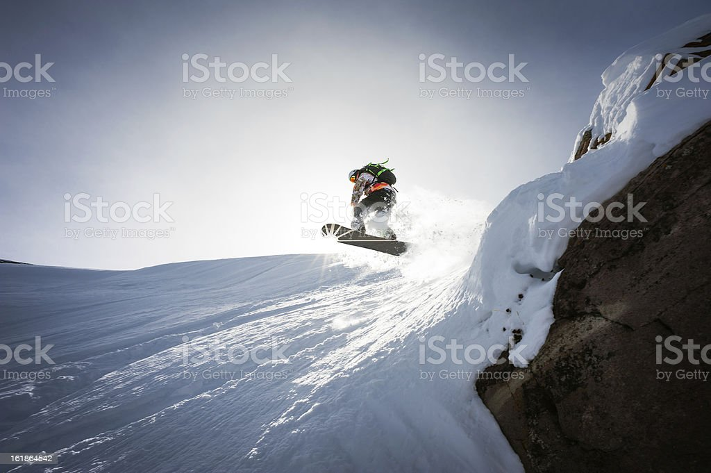 Snowboarder Hits The Sky stock photo