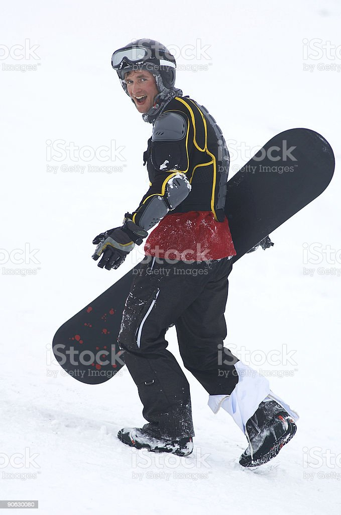 Snowboarder in defence stock photo
