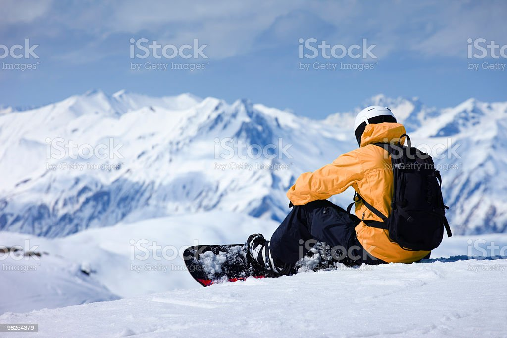 Snowboarder in european alps stock photo