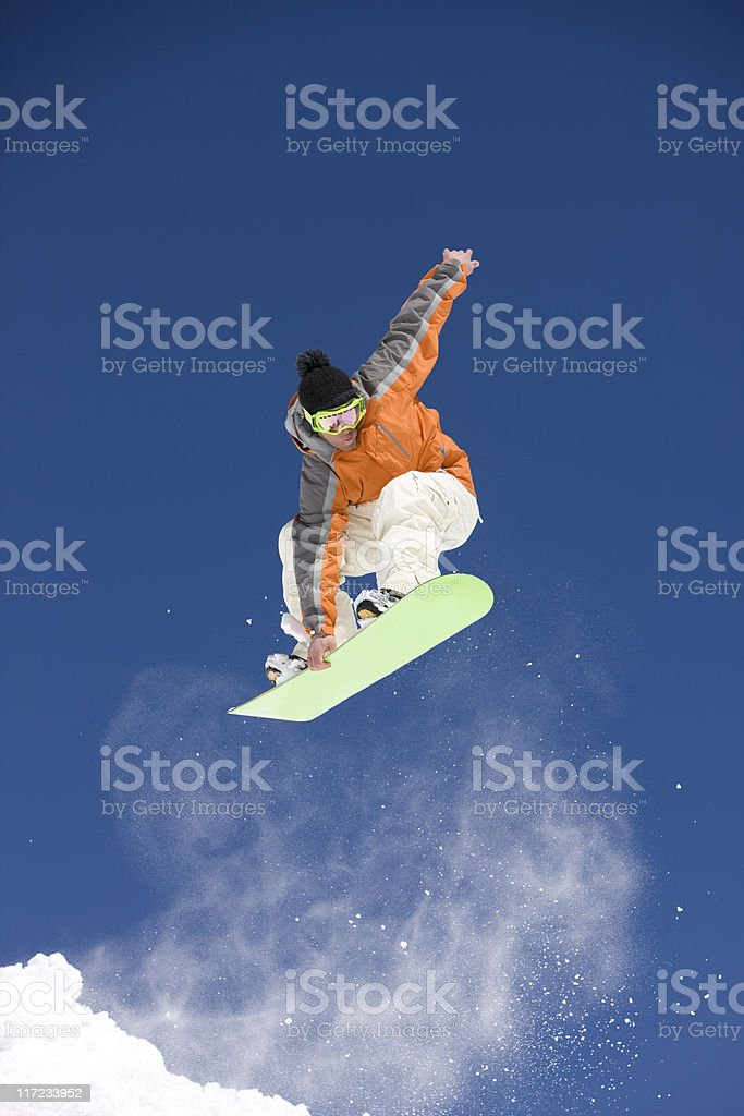 Snowboarder In Flight royalty-free stock photo