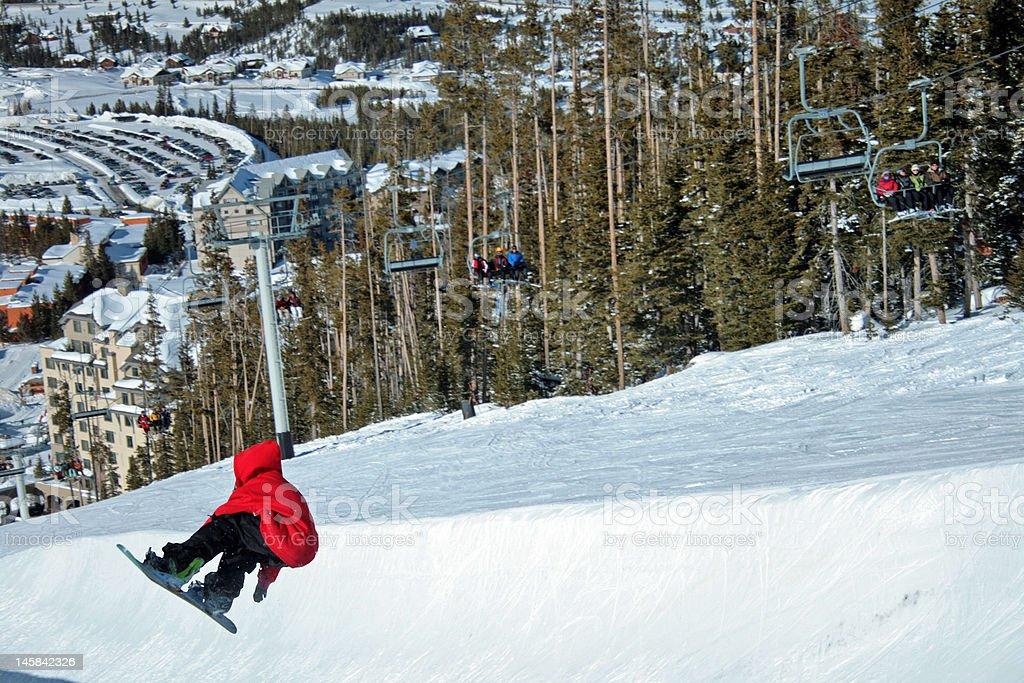 Snowboarder in Halfpipe stock photo