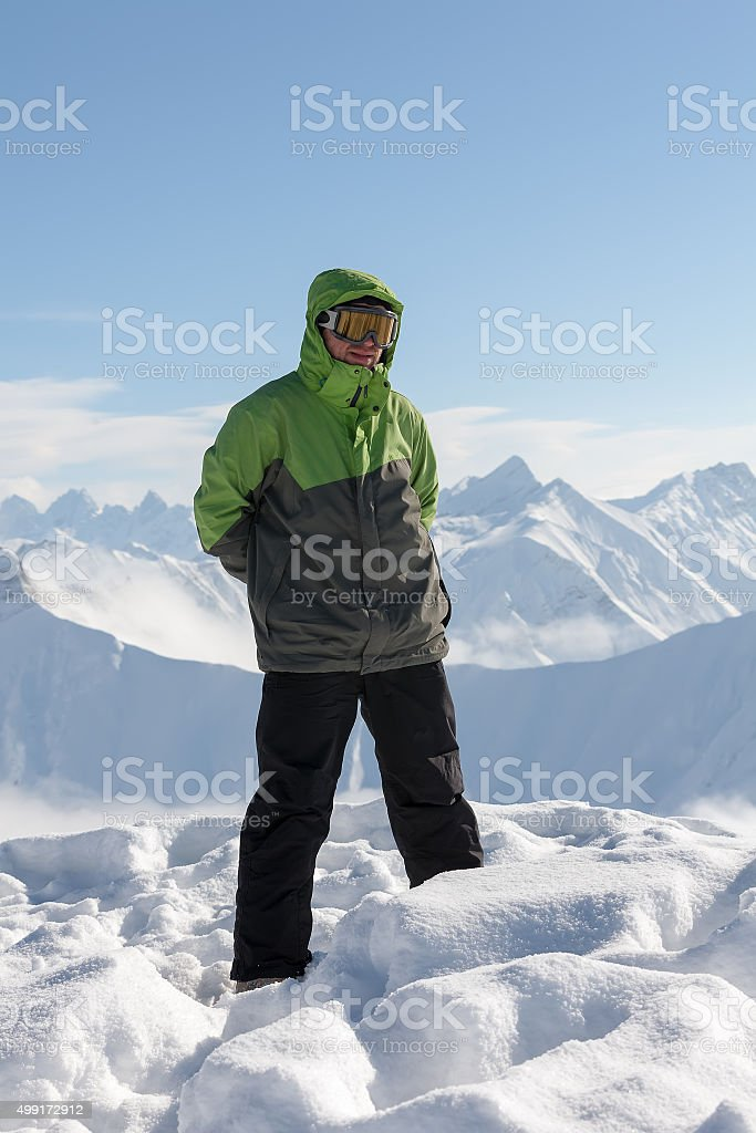 Snowboarder in high winter mountains in Gudauri, Georgia stock photo