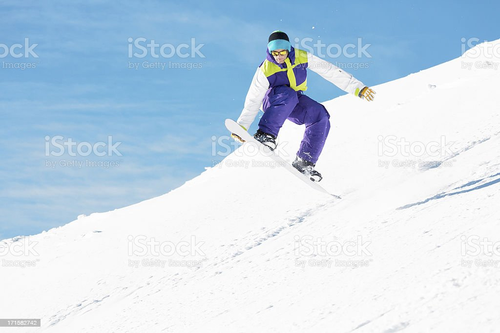 Snowboarder in jump royalty-free stock photo