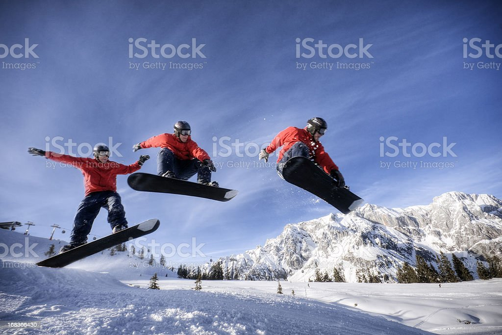 Snowboarder in Midair stock photo