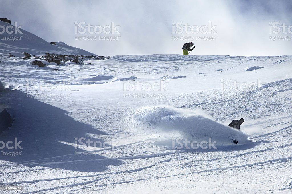Snowboarder in powder royalty-free stock photo