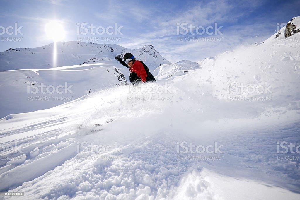 Snowboarder in Powder stock photo